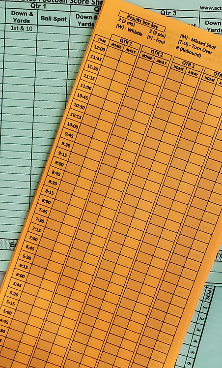 Extra score/play sheets