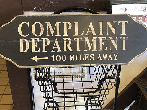 Complaint Department Decor Sign