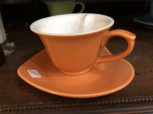 Orange Tea Cup and Saucer