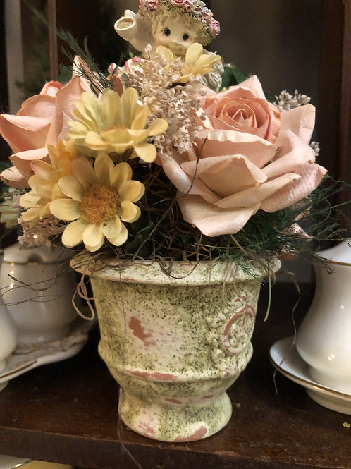 Artificial Flower Decor with Angel