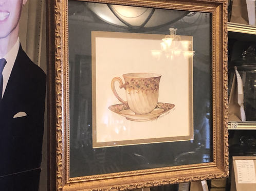 Tea Cup Picture, gold and green