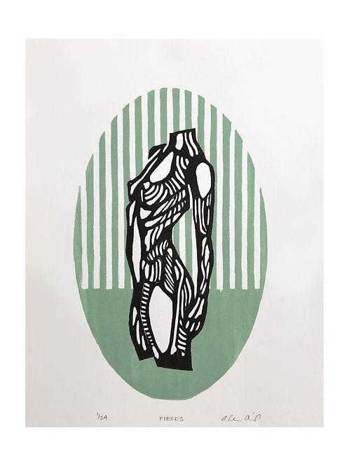 'Pieces' Woodblock Print