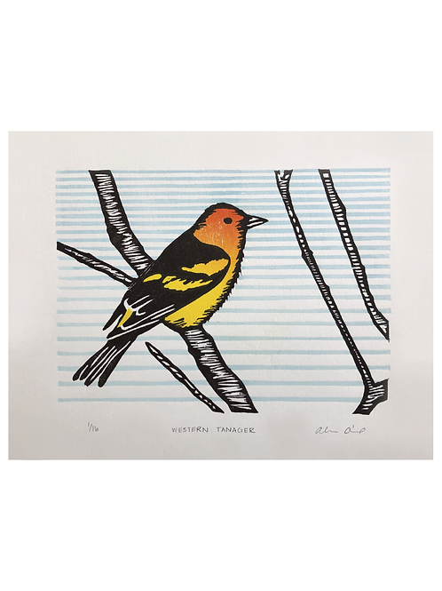 'Western Tanager' Woodblock Print