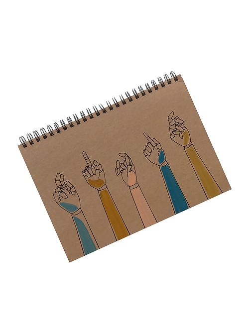 Painted Sassy Hands Recycled Notebook