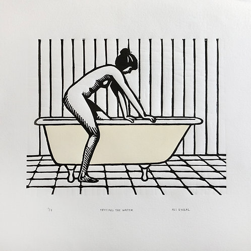 'Testing the Water' Woodblock Print