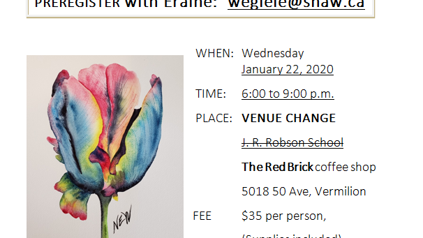 Watercolor Fun! fundraising class. Vermilion, AB. Jan 22, 2020.