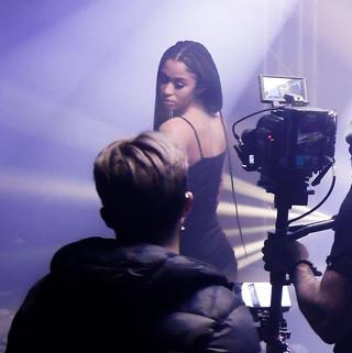 Cameraman and model