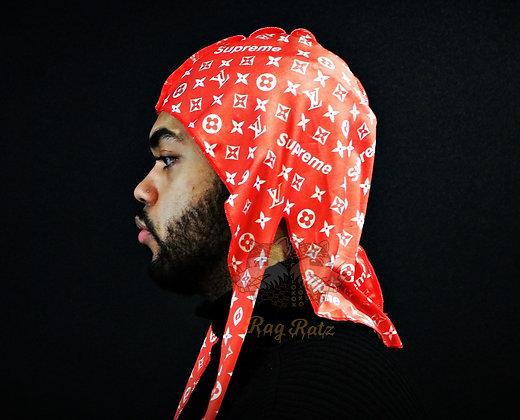"Red ""LV/Supreme"" Rag Ratz Du-Rag"