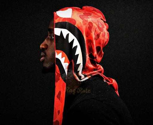 "Red ""Bape Shark"" Rag Ratz Du-Rag"