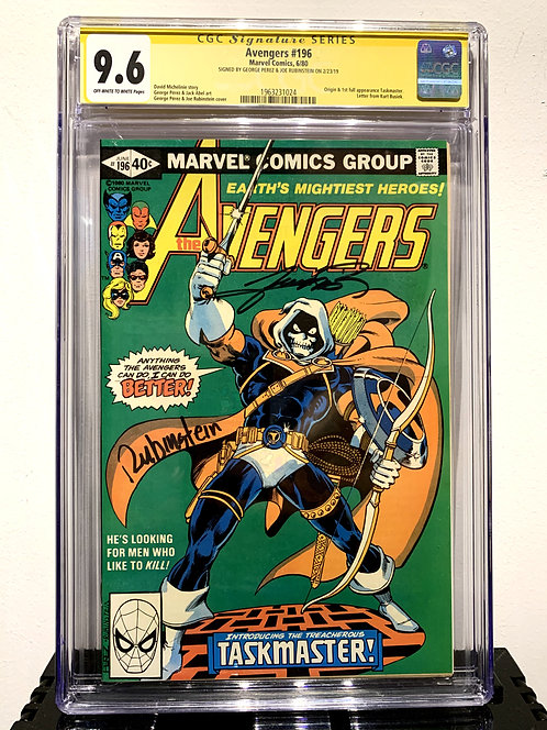 AVENGERS #196 1ST SIGNED BY GEORGE PEREZ & JOE RUBINSTEIN CGC SS 9.6