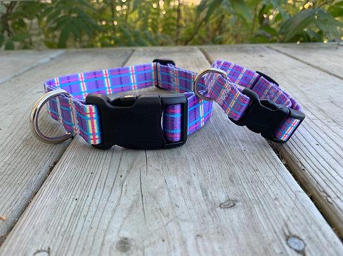Purple Plaid Adjustable BBS Collar