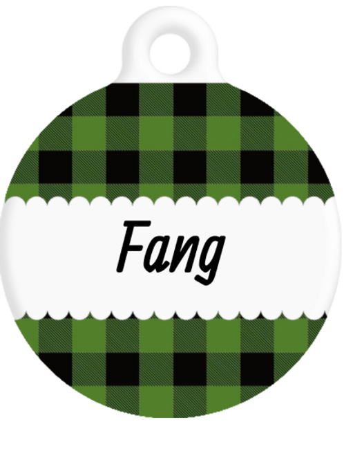 The Fang Plaid ID Tag