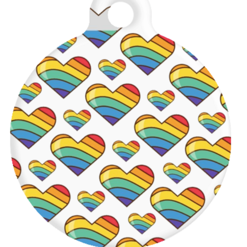 Rainbow Hearts ID Tag