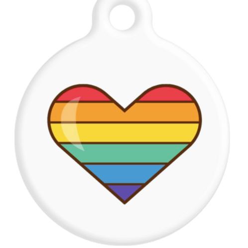 Rainbow Heart ID Tag