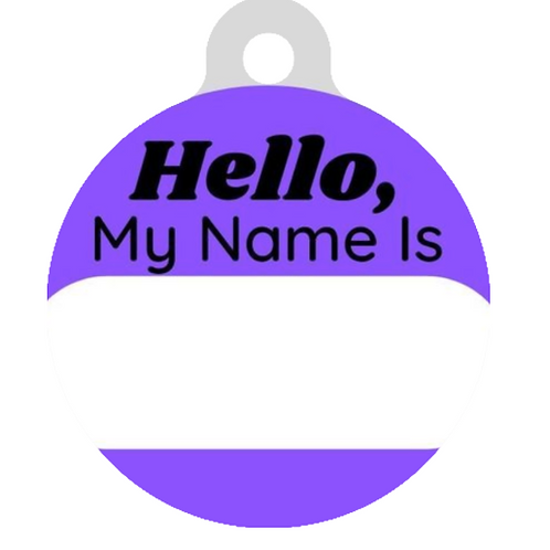 Hello, My name is Purple ID Tag