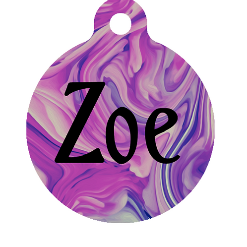 Pink Marble ID Tag
