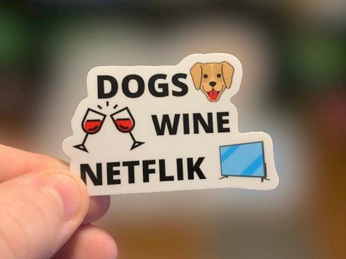 Dogs Wine Netflik Sticker
