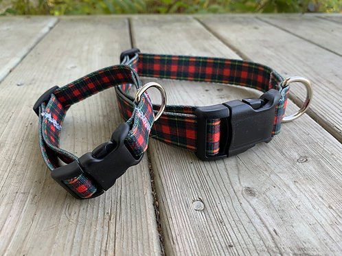 Black & Red Plaid Adjustable BBS Collar