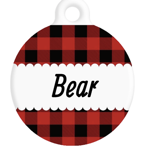 The Bear Plaid ID Tag