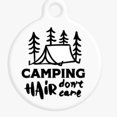 Camping Hair, Don't Care ID Tag