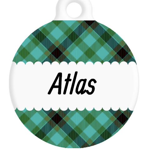 The Atlas Plaid ID Tag