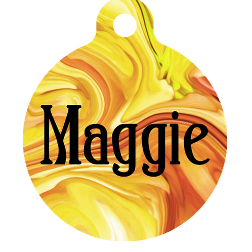 Yellow Marble ID Tag