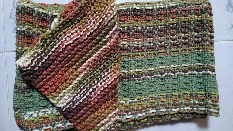 Hand Knitted/Woven 100% Cotton Dishtowel Set (waffle weave pattern)