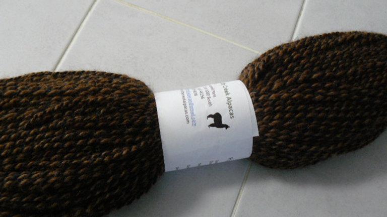 Hand Spun Alpaca Yarn - Black/Brown