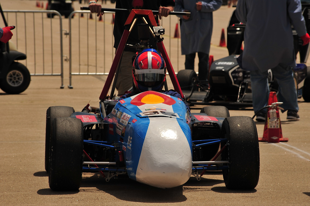 Ryan Belanger waits for judges to measure fuel consumption after completing the endurance event