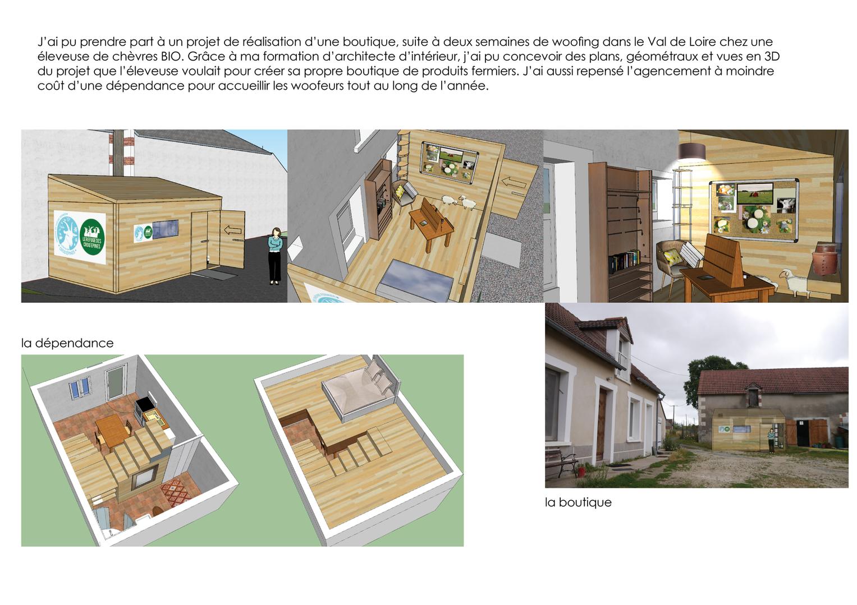 projet conception spatiale magasin et chambre d'hôte, agricultrice