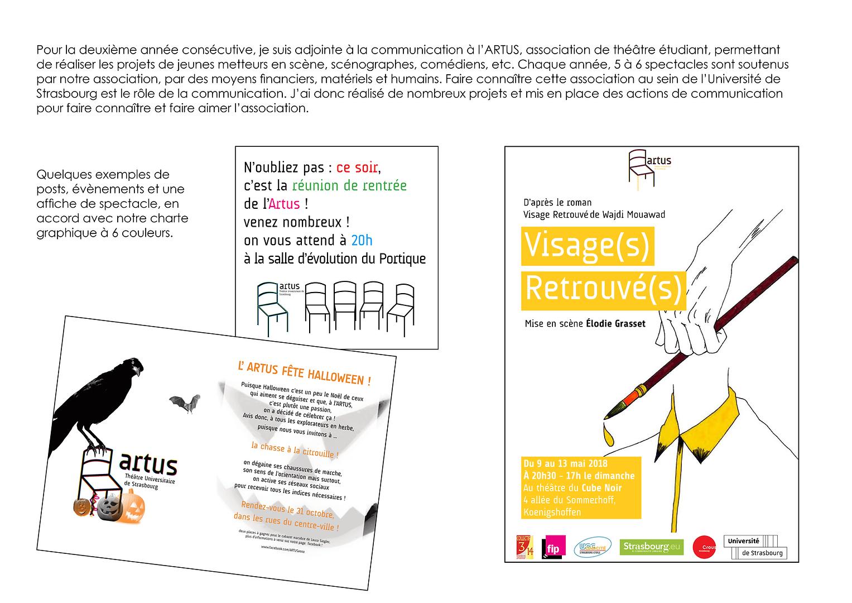 projets de communication tout au long de l'année ARTUS association de théâtre étudiant