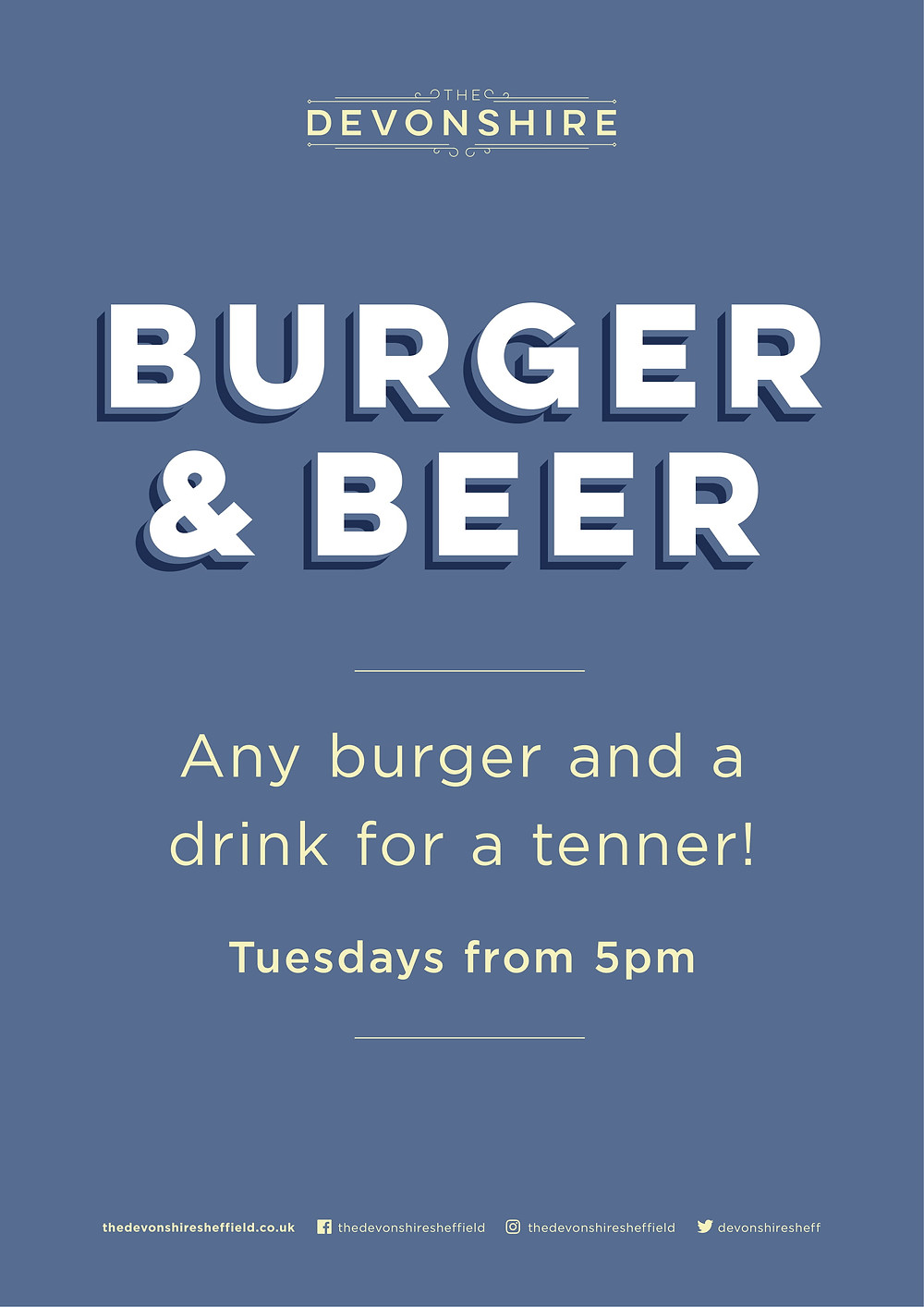 Devonshire Tuesdays Burger and drink offer for a tenner