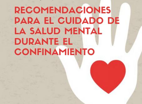 Recomendaciones para el cuidado de la salud mental durante el confinamiento