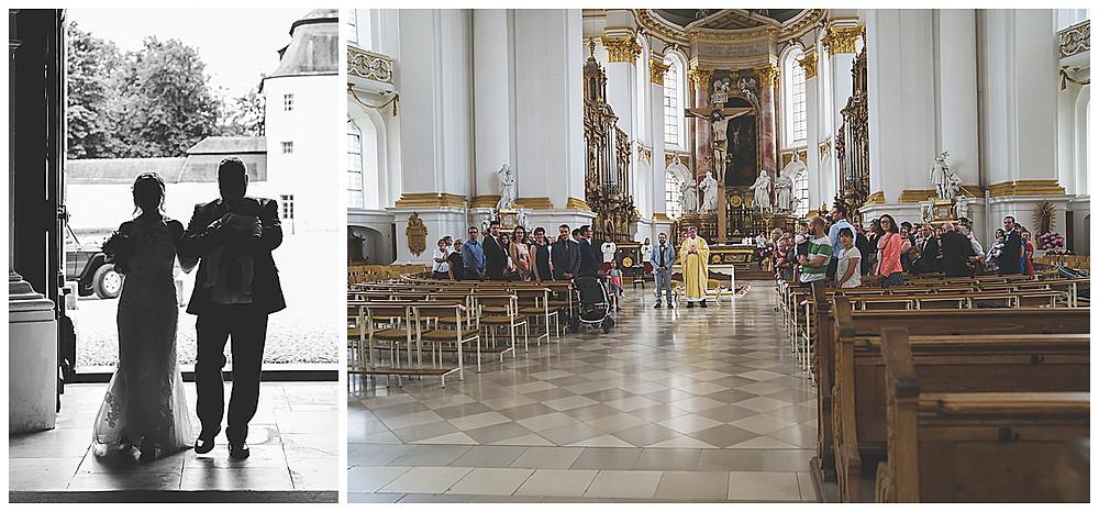 Heiraten im Kloster Wiblingen Einzug der Bruat mit Papa