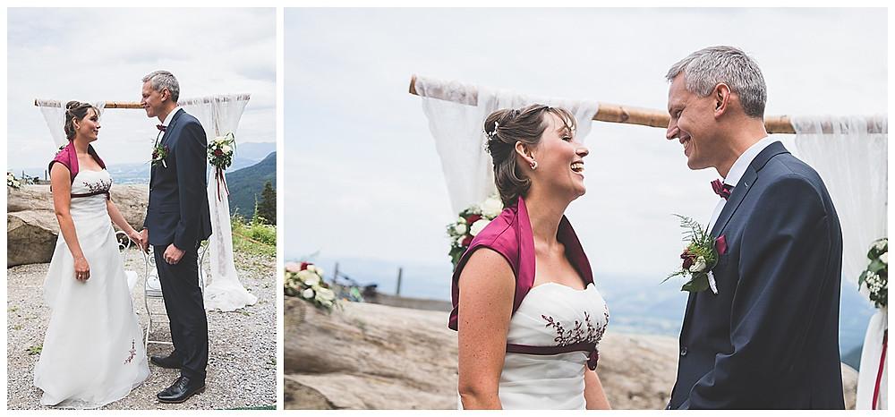 Brautpaar Berghochzeit gibt Ja Wort