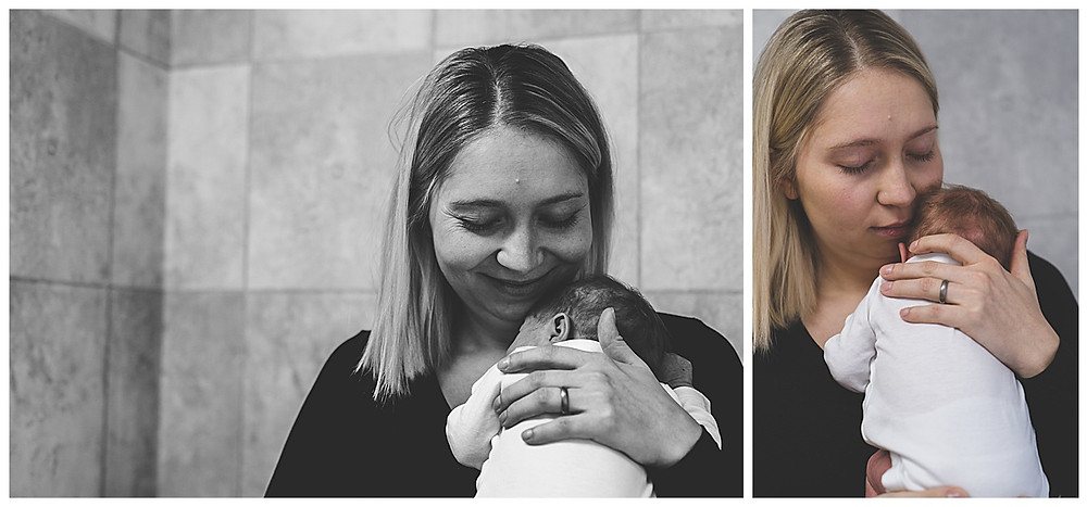 frischgebackene Mama im Fotostudio