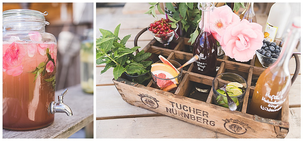 Dekoration Aperitif bei Hochzeit Scheunenwirtin Blumen