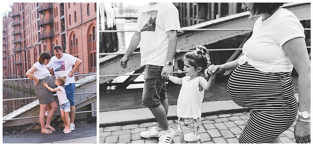schwangerscgaftsshotoing in Hamburg Speicherstadt mit Geschwisterkind an der Hand
