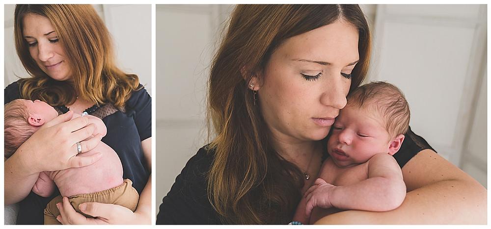 baby und mama bei babyshooting im Fotostudio