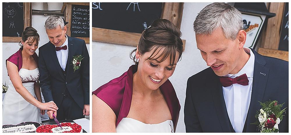Hochzeitstorten anschnitt vom Brautpaar