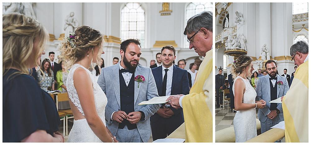 Kirchliche Hochzeit im Kloster Wiblingen Ringübergabe