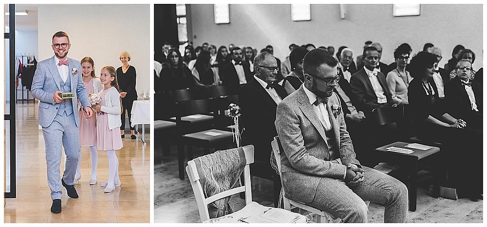 Hochzeit in Stuttgart Bräutigam kommt zur Trauung