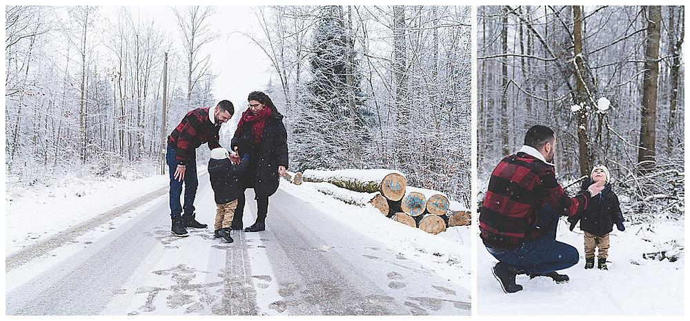 Familienspaziergang mit Babybauch im Winter