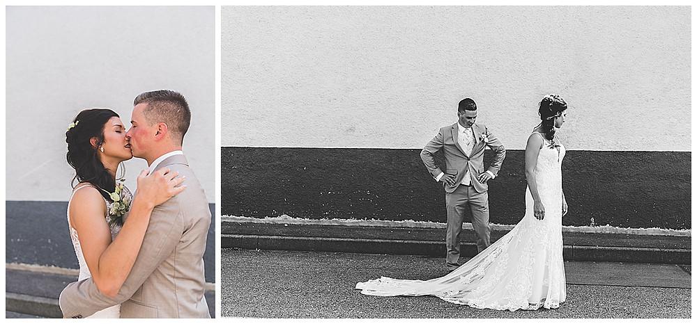 Hochzeitsfotograf Heidenheim First Look Industriegebiet küssen
