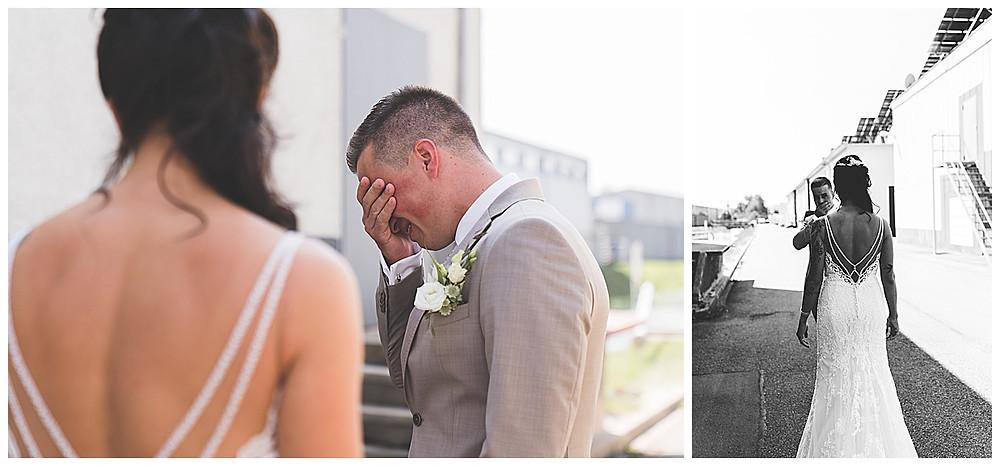 Hochzeitsfotograf Heidenheim First Look Industriegebiet Bräutigam weint