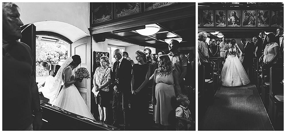 Kirche Scharenstetten Hochzeit  Brauteinzug mit Papa
