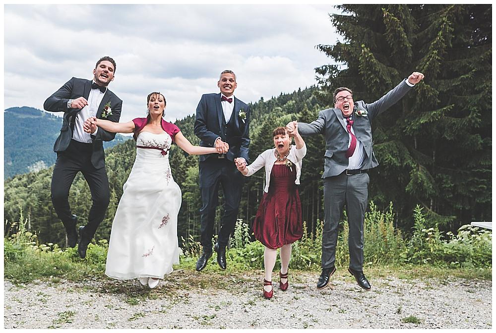 Familienfoto Hochzeit in den Bergen