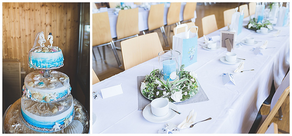 Hochzeitsdekoration und Torte