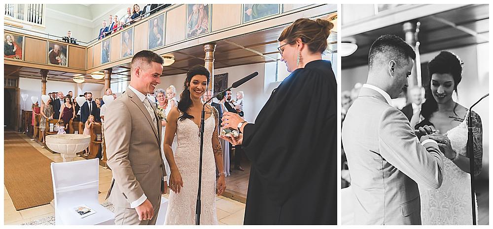 kirchliche Hochzeit in Bolheim Hochzeitsfotograf Heidenheim Ringübergabe