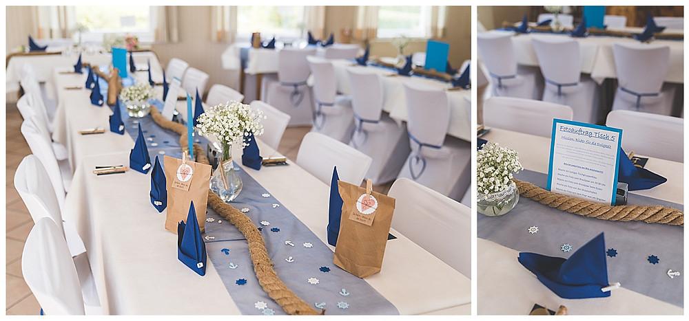 Hochzeitsdekoration maritim Blau weiß in Vereinsheim in Hamburg